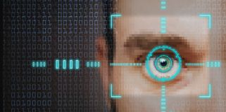Security scan. Hi tech biometric retina scan  or identity verification Stock Images