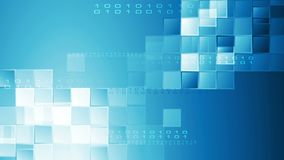 Hi-tech blauwe abstracte videoanimatie met vierkanten en binaire code stock footage