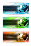 Hi Tech business card or web header. Backgrounds with 3D earth design and 3 colours option Stock Image