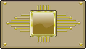 Hi-tech button. In light brown and gold tones stock illustration