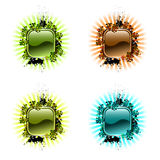 Hi-tech button and rays Royalty Free Stock Photo