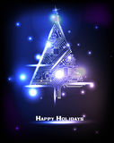 Hi-tech Christmas tree. From a digital electronic circuit Royalty Free Stock Images