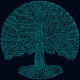 Hi-tech circuit style round yggdrasil tree. Cyberpunk futuristic design. royalty free illustration
