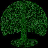 Hi-tech circuit style round yggdrasil tree. Cyberpunk futuristic design. Hi-tech styled frame elements and borders. Cyberpunk futuristic design. Green and black Stock Images