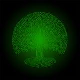 Hi-tech circuit style round yggdrasil tree. Cyberpunk futuristic design. Hi-tech styled frame elements and borders. Cyberpunk futuristic design. Old style green Stock Images