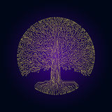 Hi-tech circuit style round yggdrasil tree. Cyberpunk futuristic design. Hi-tech styled frame elements and borders. Cyberpunk futuristic design. Yellow and deep Stock Images