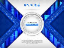 Hi-tech communication concept innovation background. Abstract technology background with various technology elements and data protection icons. Hi-tech Stock Photo