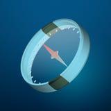 Hi-tech compass vector illustration. Blue color 3d elements stock illustration