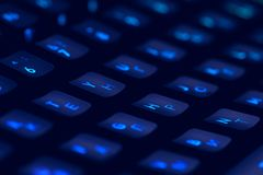 Hi tech computer mechanical keyboard with backlight rgb illumination. Close up of computer gaming accessory. stock photos