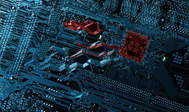 Hi tech computer-parts and microchips Stock Photo