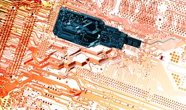 Hi tech computer-parts and microchips Royalty Free Stock Photography