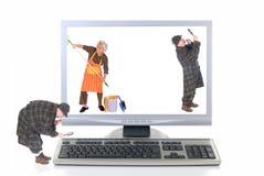 Hi tech computer, virus check stock photos