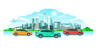 Hi-tech cool city & cars, panorama. Seaside sunrise or sunset, a picturesque landscape with modern snowy buildings & multicolored. Hi-tech cool city cars Royalty Free Stock Photo