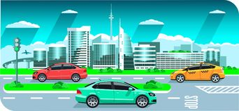 Hi-tech cool city cars, panorama. Seaside sunrise or sunset, a picturesque landscape with modern snowy buildings. Multicolored cars on the background sun clouds Stock Photo