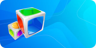 Hi-tech cube. Chrome cubes in an abstract blue background Royalty Free Stock Photography