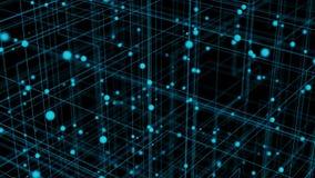 Hi-tech 3D Geïllustreerde Bewegende achtergrond van een Net en Veelvoudige Gebieden stock videobeelden