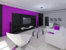 Hi-tech design of the living room. Royalty Free Stock Images