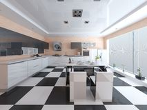 Hi-tech design modern spacious kitchen. Stock Image