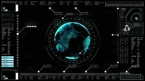 Hi-tech digital abstract background interface head up display holographic earth stock video footage