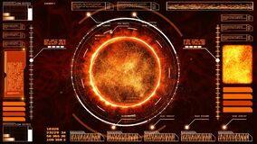 Hi-tech digital abstract background interface head up display holographic Sun Solar Flare Particles and information