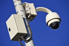 Hi-tech dome type camera over blue sky Royalty Free Stock Photography