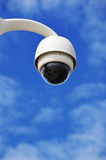 Hi-tech dome type camera over a blue sky Royalty Free Stock Images