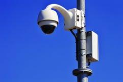 Hi-tech dome type camera over blue sky Royalty Free Stock Photo