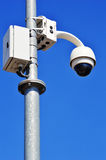 Hi-tech dome type camera over blue sky Royalty Free Stock Images