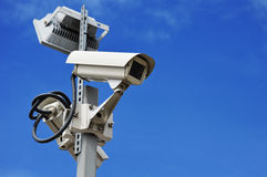 Hi-tech dome type camera over a blue sky Stock Images