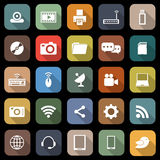 Hi-tech flat icons with long shadow Stock Image
