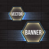 Hi-tech geometric dark gray and blue background with hexagons banners. Royalty Free Stock Image