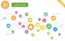 Hi-Tech Geplaatste Wortelpictogrammen Royalty-vrije Stock Afbeelding