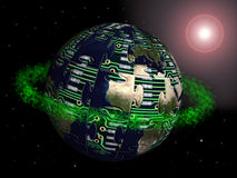 Hi-tech globe. Jigsaw puzzle globe made of printed circuit with green ring in the space Stock Photography