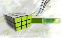 Hi-tech green cube. Abstract design, hi-tech blurred background, lines and white colors stock illustration