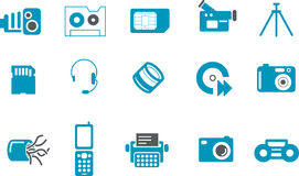 Hi-tech Icon Set. Vector icons pack - Blue Series, hi-tech collection Royalty Free Stock Photo