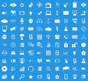 100 Hi-Tech icon set. Simple white images on blue background Royalty Free Stock Photos