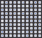 100 Hi-Tech icon set, square. 100 Hi-Tech icon set, blue images in light gray square, on black background Royalty Free Stock Images