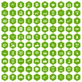 100 hi-tech icons hexagon green. 100 hi-tech icons set in green hexagon isolated vector illustration Royalty Free Illustration