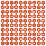 100 hi-tech icons hexagon orange. 100 hi-tech icons set in orange hexagon isolated vector illustration Vector Illustration