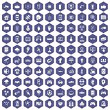 100 hi-tech icons hexagon purple. 100 hi-tech icons set in purple hexagon isolated vector illustration vector illustration