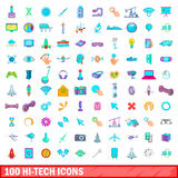 100 hi-tech icons set, cartoon style Stock Photography