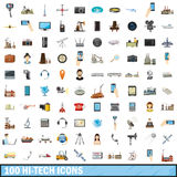 100 hi-tech icons set, cartoon style. 100 hi-tech icons set in cartoon style for any design vector illustration Stock Photo