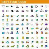 100 hi-tech icons set, cartoon style. 100 hi-tech icons set in cartoon style for any design illustration stock illustration