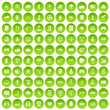 100 hi-tech icons set green circle. Isolated on white background vector illustration Stock Image