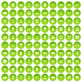 100 hi-tech icons set green. 100 hi-tech icons set in green circle isolated on white vectr illustration Vector Illustration