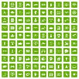 100 hi-tech icons set grunge green. 100 hi-tech icons set in grunge style green color isolated on white background vector illustration Stock Images
