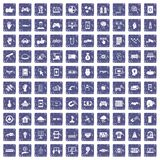 100 hi-tech icons set grunge sapphire. 100 hi-tech icons set in grunge style sapphire color isolated on white background vector illustration royalty free illustration