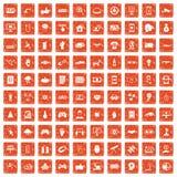 100 hi-tech icons set grunge orange. 100 hi-tech icons set in grunge style orange color isolated on white background vector illustration Royalty Free Stock Photos