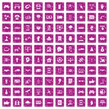 100 hi-tech icons set grunge pink. 100 hi-tech icons set in grunge style pink color isolated on white background vector illustration vector illustration