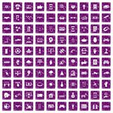 100 hi-tech icons set grunge purple. 100 hi-tech icons set in grunge style purple color isolated on white background vector illustration Royalty Free Stock Photography